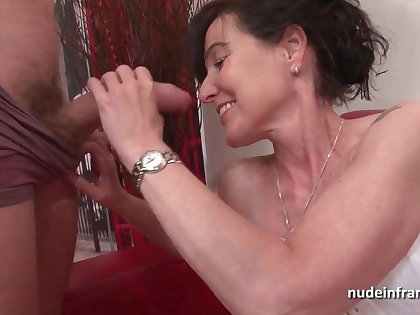 French squirt mature cougar hard double teamed