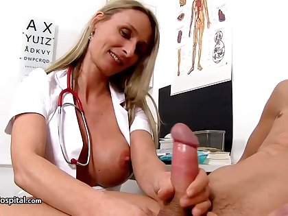 Steamy nurse is wearing fabulous uniform while toying with her patient's rock niminy-piminy meat stick