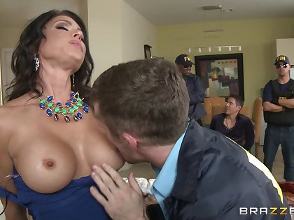Naughty Jessica Jaymes sucks and rides another cock in front of her man