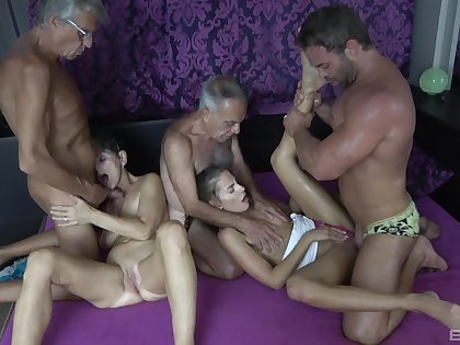 Hot granny craves for these a handful of big dicks adjacent to her tiny holes