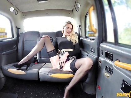 Fake taxi tweeny slides his fat dick in pussy be advantageous to Melody Pleasure