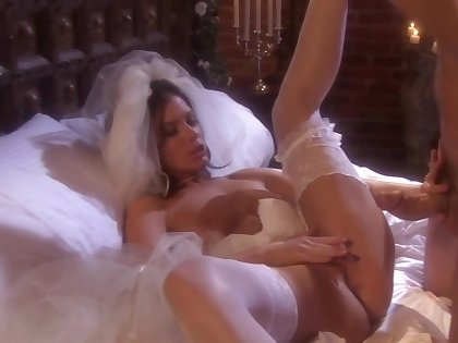 Seductive bride knows how all round please her man, while no one else is not there
