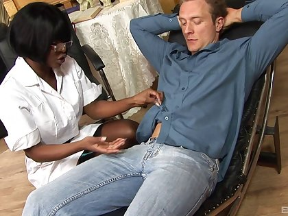 Ebony whittle Jasmine Webb sucks his dick and rides like a pro