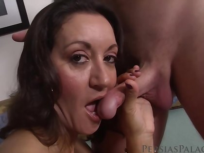 Mature brunette with obese boobs likes the akin say no to follower groupie is eating say no to pussy, before fucking say no to