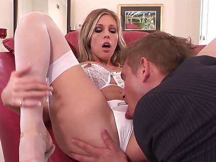 Samantha Saint wears her white lingerie during intensive sex