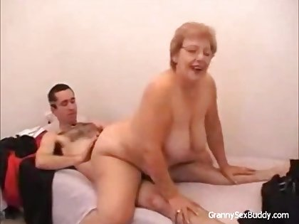 Old and chunky woman in steamy cock riding action