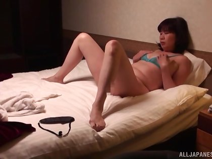 Horny Asian fit together in lingerie and stockings wants far lose one's heart to
