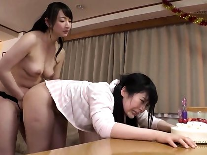 Unskilful lesbian striptease together with spanking