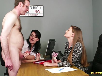 Sexy girls Honour Mau increased by Jasmine Lau give a handjob to a guy
